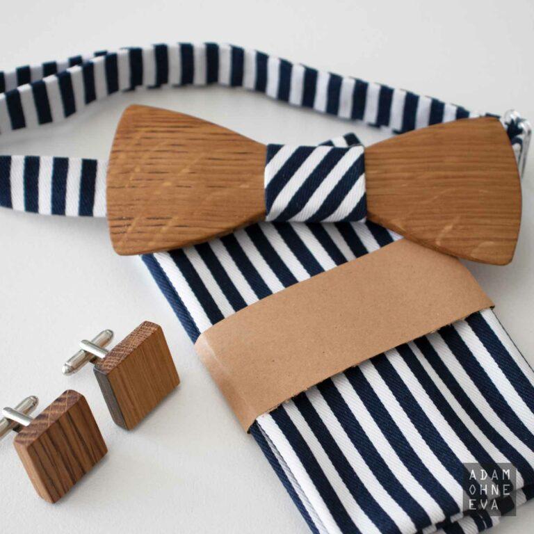 Holzfliege Whisky Eiche - hochwertiges Set mit Manschettenknöpfen und Einstecktuch | Geburtstagsgeschenke für Männer