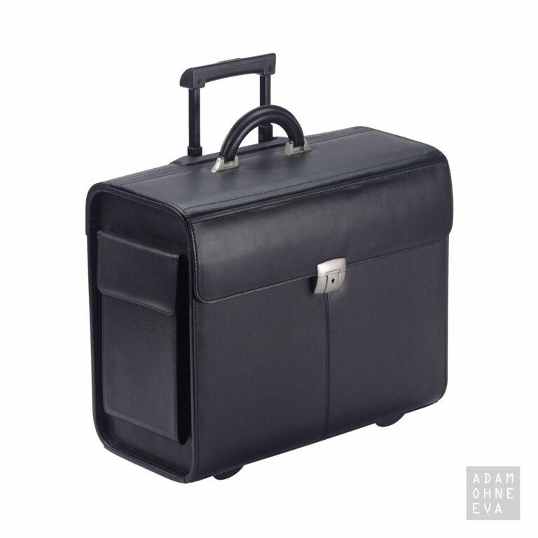Pilotenkoffer aus Rindleder mit Überschlag und Schlüsselschloss, Schwarz, Dermata | Geschenke für Männer