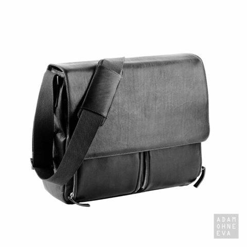 Hochwertige Aktentasche aus Rindleder mit Überschlag, Schwarz, Dermata | Geschenke für Männer zum Geburtstag