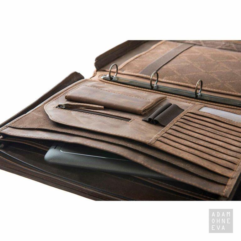 Ringbuch-Mappe aus Leder, mit Umhängegurt (Serie Montenegro), Greenland | Geschenke für Männer