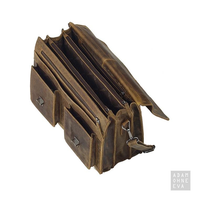Hochwertige Leder-Aktentasche mit Gurt (Serie Montana), Greenland | Männergeschenke