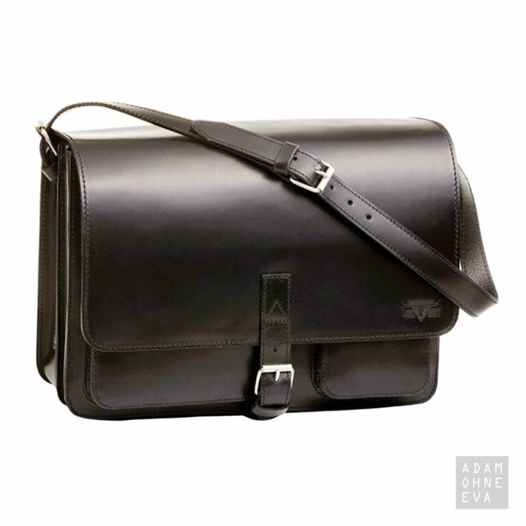 Hochwertige Aktentasche aus Sattelleder, Schwarz, MIKA | Geschenke für Männer