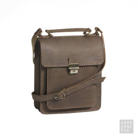 Hochwertige Umhängetasche aus Sattelleder, Braun, MIKA | Geschenke für Männer