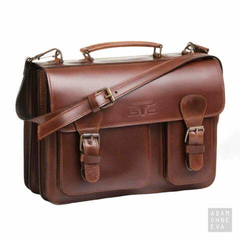 Hochwertige Aktentasche aus Sattelleder, Braun, MIKA | Geschenke für Männer