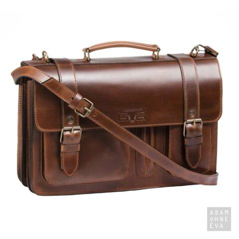 Hochwertige Aktentasche aus Sattelleder, Braun, MIKA | Geschenke für Männer zum Geburtstag