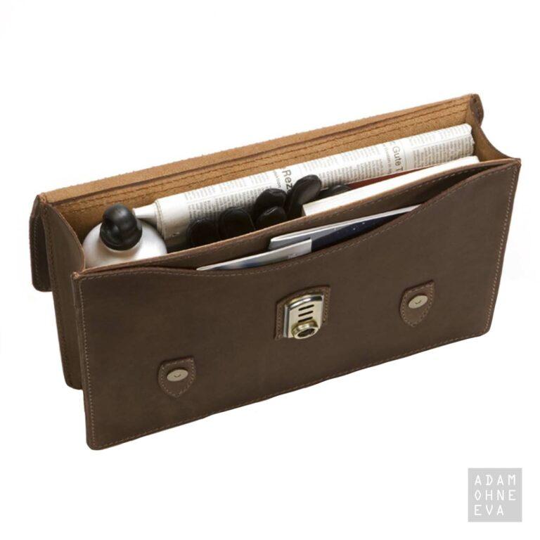 Hochwertige Aktentasche aus Sattelleder, Braun, MIKA   Männer Geschenke