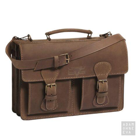 Hochwertige Aktentasche aus Sattelleder, Braun, MIKA | Männer Geschenke