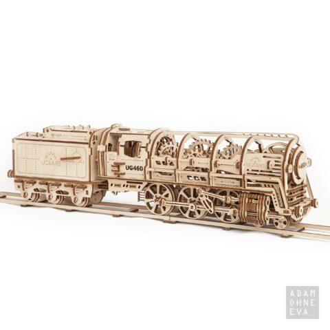 Dampflokomotive mit Schlepptender aus Holz – 3D-Puzzle Modellbau mit 443 Bauteilen, Ugears | Geburtstagsgeschenke für Männer