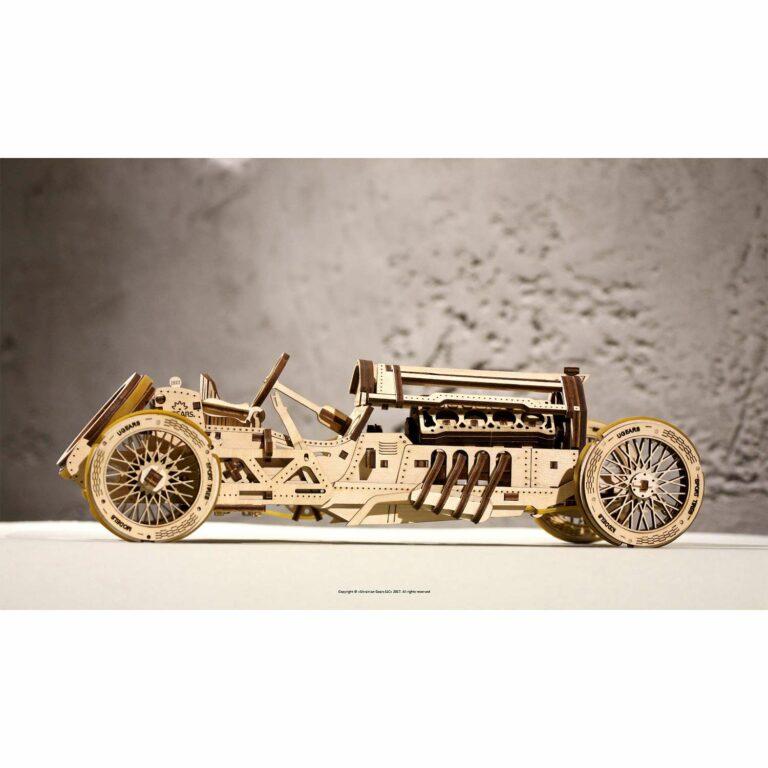 U-9 Grand Prix Rennwagen aus Holz – 3D-Puzzle Modellbau mit 384 Bauteilen, Ugears | Geburtstagsgeschenke für Männer