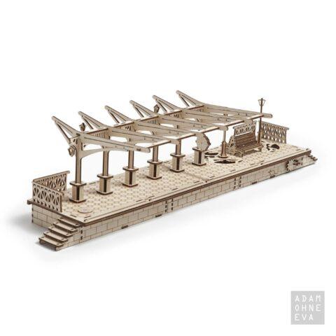 Bahnsteig aus Holz – 3D-Puzzle Modellbau mit 196 Bauteilen, Ugears | Geschenke für Männer