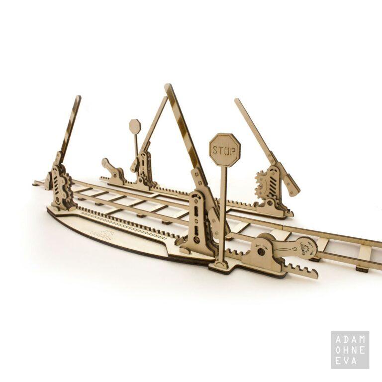 Bahnübergang und Schienen aus Holz – 3D-Puzzle Modellbau mit 200 Bauteilen, Ugears | Männergeschenke