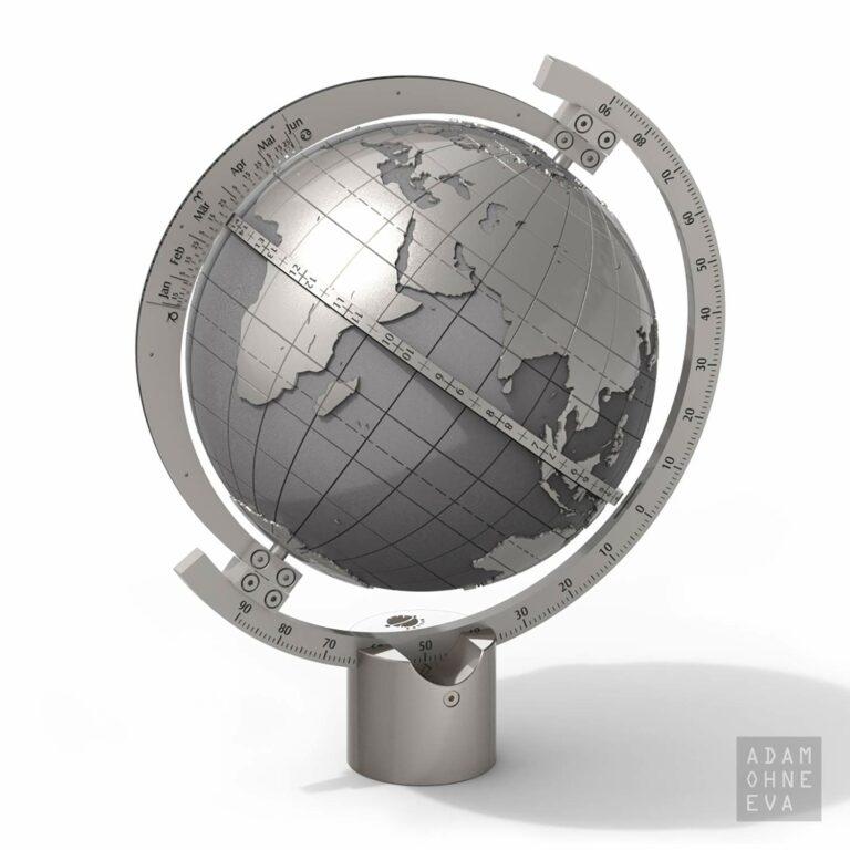 Sonnenuhr MAGELLAN in Globusform aus Edelstahl, Helios | Geschenke für Männer zum Geburtstag